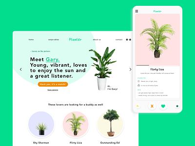 PLANTDR - Cheeky datingapp for plants conceptual uxdesign uxui ux branding website design website concept