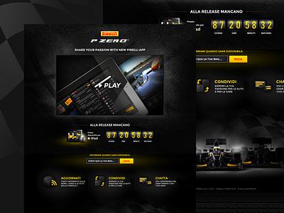 Pirelli PZero skeuomorphic yellow black ui tyres corporate uidesign countdown website webpage desktop formula1 landing sport