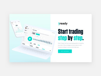 Tready – Landing Page money bank app b2c b2b investment trading landing website typography brand