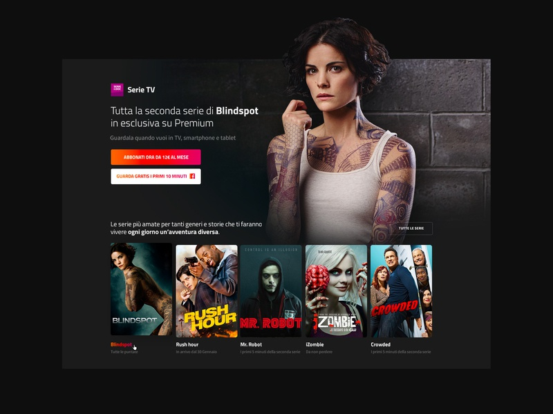 Mediaset Premium movies netflix series ui typography tv television smart tv minimal mediaset layout home grid art direction