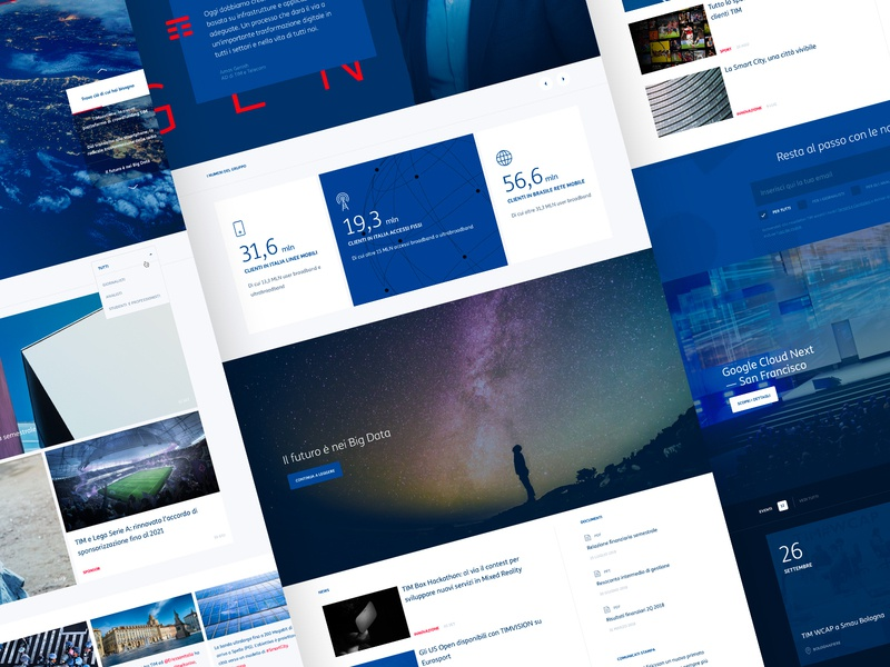 TIM — Concept Redesign corporate desktop clean blog home ux ui tim art direction concept typography layout brand