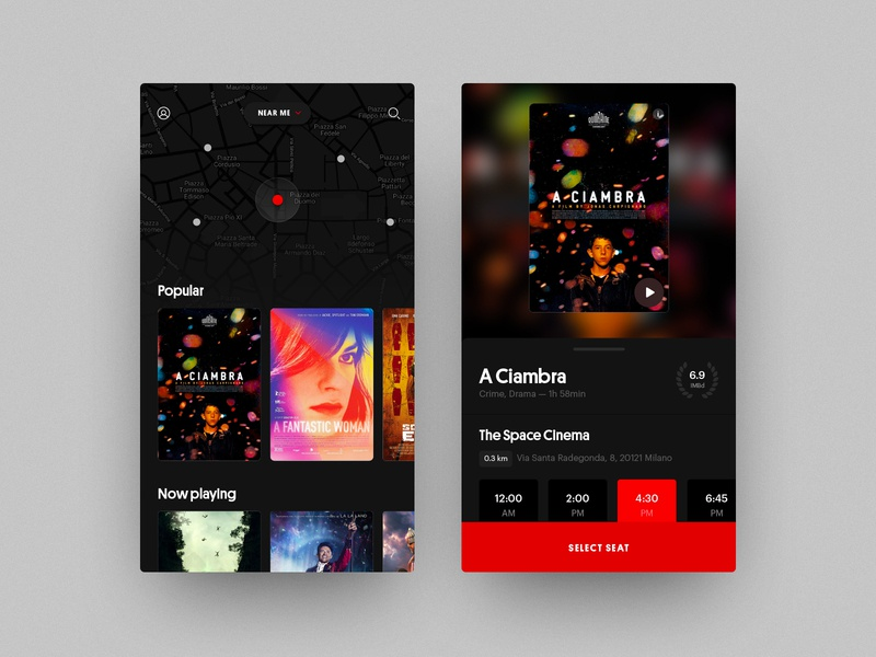 Cinear — Movies near you identity home poster app ui layout movie app movies black clean art direction
