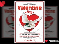 Heart Valentine Day Flyer Psd Template Cover