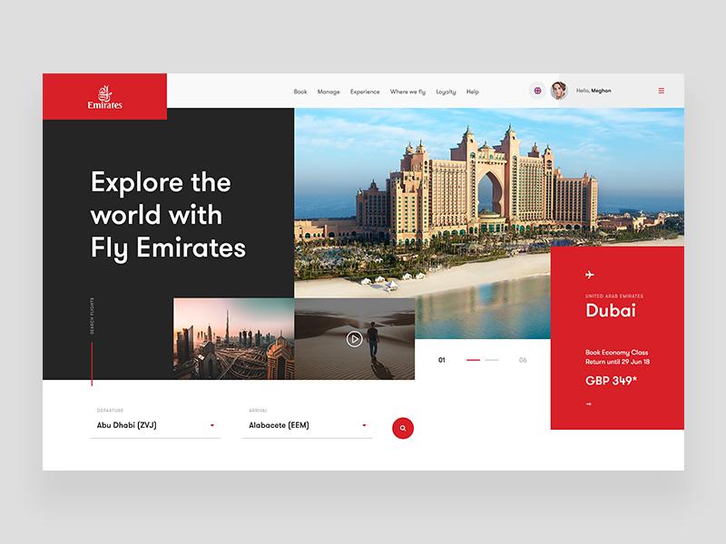 Emirates Airline - Website Concept emirates plane fly web concept ui ux webdesign