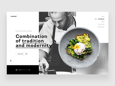 Sunset Restaurant - Website kitchen food restaurant sunset web concept ui ux webdesign