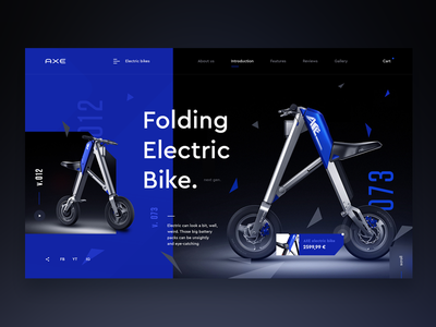 Axe Electric bikes - design concept webdesign web modern bike screen website www design ux ui