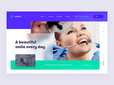 Colodent Dentist - Website smile woman stomatology dentist webdesign design web