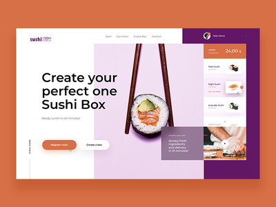 Sushi Box - Website Concept order ux sushibox box design web website box sushi