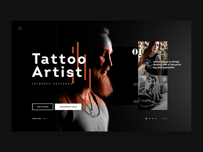 Tatoo Artist - Website Concept webdesign website ux design ux ui minimal black tatoos artist tatoo