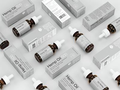 Hemp Oil Packaging modern corona renderer mockup supplement hemp-oil minimal swiss-design eolinart label packaging package cbd hemp