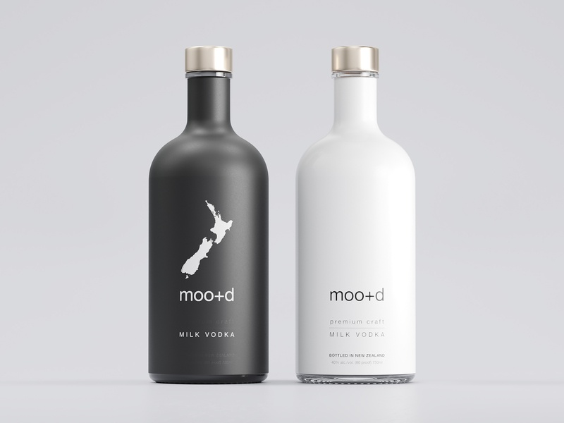 Moo+d Milk Vodka Label Design milk vodka corona renderer 3d mockup label mockup monoart blackandwhite bw eolinart new zealand vodka vodka label design beverage packaging package label packaging label-design
