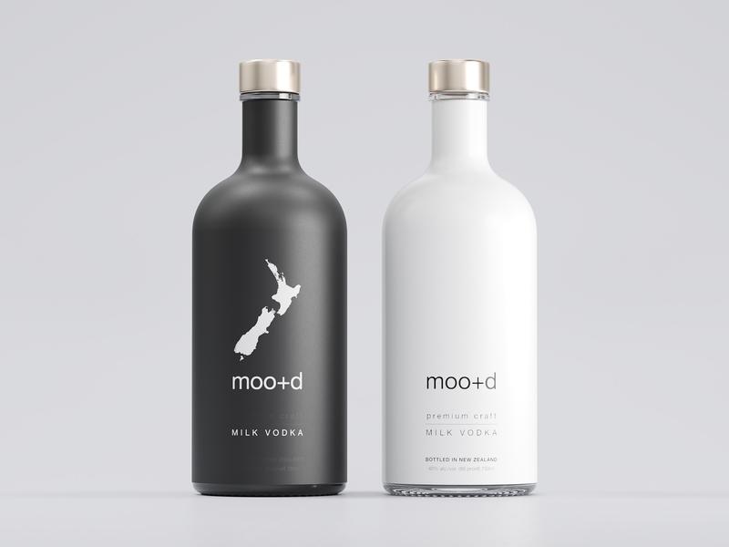 Moo+d Milk Vodka Label Design milk vodka corona renderer 3d mockup label mockup monoart blackandwhite bw eolinart new zealand vodka vodka label design beverage packaging package label packaging label-design