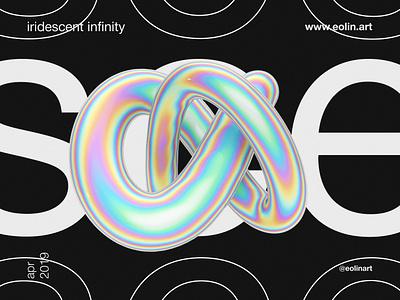 Iridescent Infinity eolinart modern 3d abstract poster iridescent
