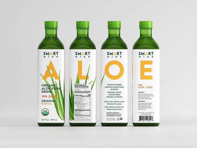 Smart Aloe Organic Drink Label Design Concept branding logo design beverage packaging juicelabel eolinart drinks bottle aloe green vegan organic packaging labeldesign label