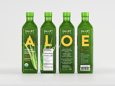 Smart Aloe Label Design Concept 3d label design 3d mockup illustration label mockup package branding modern mockup corona renderer beverage packaging packaging eolinart