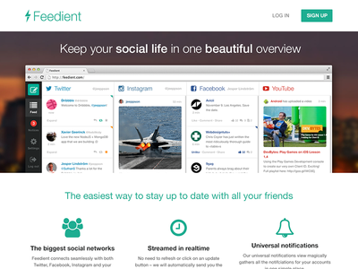 Feedient frontpage feedient flat mint green fontawesome web landing page