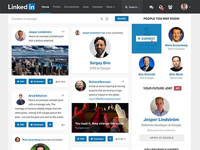LinkedIn Redesign linkedin redesign social clean flat feed