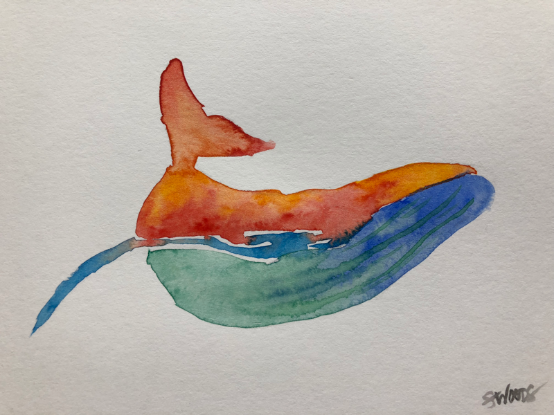 Fancy whale art sea whale watercolor