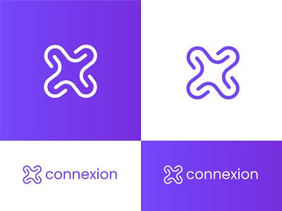 Connexion logo line logo clean logo logo logo designer logo mark logo design xd design graphicdesign x letter connect connection logo purpule x logo