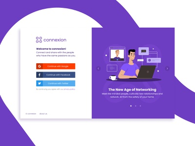 Onboarding screen for a website purple product design webdesign website welcome screen facebook twitter google continue with google sign up sign in onboarding ux ui onboarding ui ux onboarding