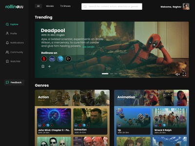 Home Page for Movie Streaming Website deadpool movie website streaming ui dark mode webdesign product design uiux ui