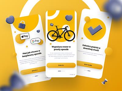 Rental bike app graphic design mobile ux design onboarding rental app ui design journey explore ios design clean mobile app navigation map figma bicycle bike ride ux ui