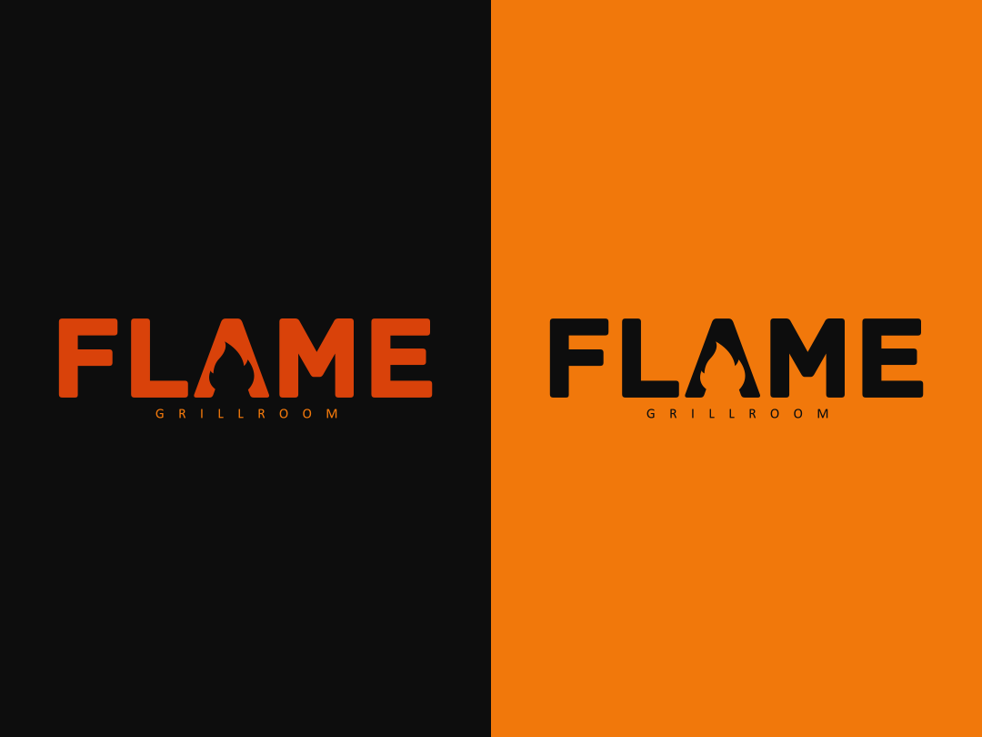 Flame Grillroom restaurant food vector illustration branding and identity branding grillroom flame logo