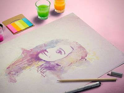 Painted woman poster dirty pastels paint image