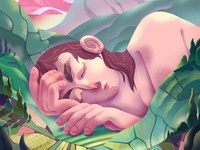 Crop of 'A place of Rest' country representation women comfort design illustration