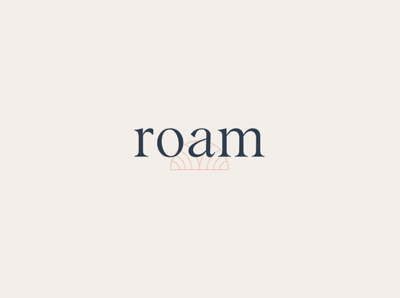 Roam Retreats sports retreats yoga symbol graphic design typography vector logo iconography branding brand design