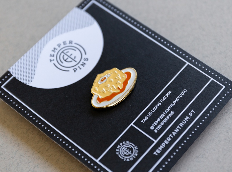 Portuguese Francesinha Enamel Pin vector temper tantrum sandwich portuguese portugal lines illustration iconography food enamelpin enamel eggs design cheese
