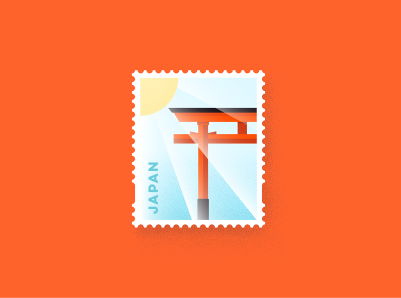 Japan Stamp vector artwork vector art icon flat design japan weeklywarmup weekly challenge warmup illustration vector dribbbleweeklywarmup stamp