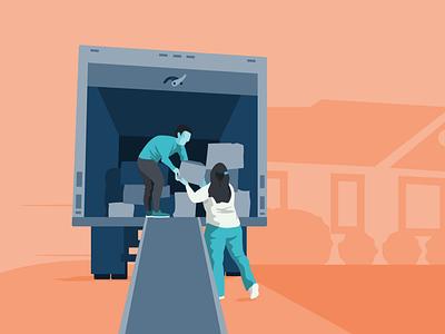 Moving Illustration truck local movers moving people behance procreate illustration bold graphic design dribbble design flat adobe illustrator color simple