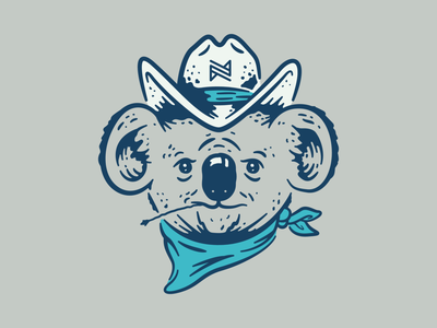 Koala Cowboy texture design color bold southwestern tshirtdesign instagram procreate cowboy koala logo branding vector behance dribbble adobe flat illustration illustrator simple