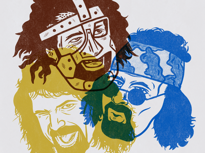 Mrs. Foley's Baby Boy threefacesoffoley wrestling prowrestling wwe mickfoley halftone texture simple procreate instagram illustrator illustration flat dribbble design color branding bold behance adobe