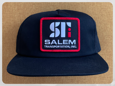 Salem Transportation Hat wordmark typography trucking trucker hat transportation simple patch design monogram merch mark logo lettermark illustrator hat design flat embroidery dribbble corporate identity branding bold