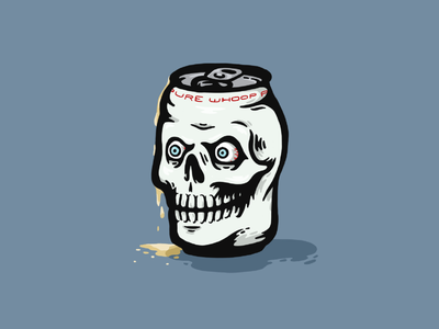 Can of Whoop Ass whoop ass illustrator flat dribbble bold behance illustration color procreate wrestling pro wrestling wwe steve austin stone cold stone cold steve austin austin 3:16 ipad skull skull art beer can