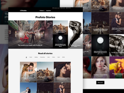 Profoto Stories web design web ux ui photography blog design desktop interface layout minimal website