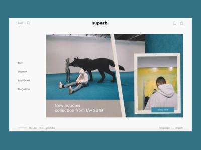 Main screen of online shop concept