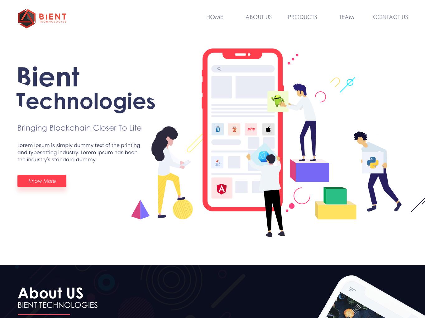 Bient Technology Website Redesign website ux ui mobile illustration branding app