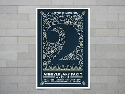 Unmapped Brewing Company's 2nd Anniversary Party Poster