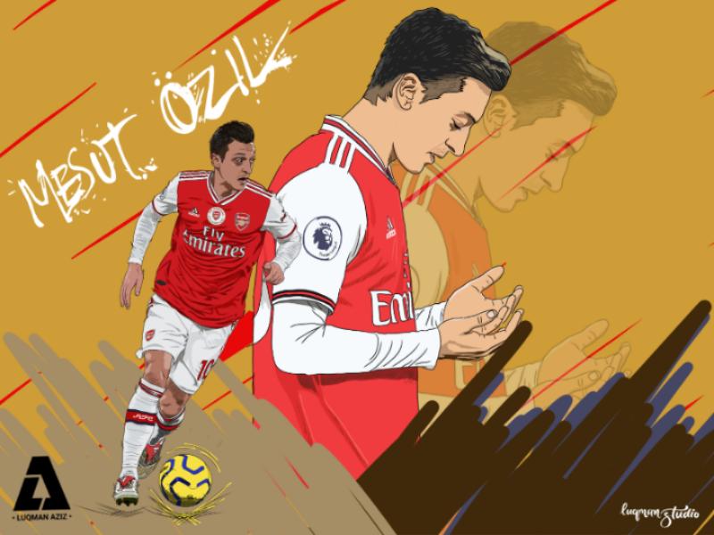 Mesut Ozil Illustration football illustration art design