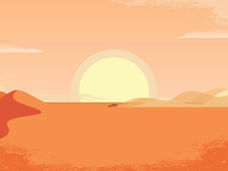 Desert Driving sand sunset sun dust vector outback scene desert drive
