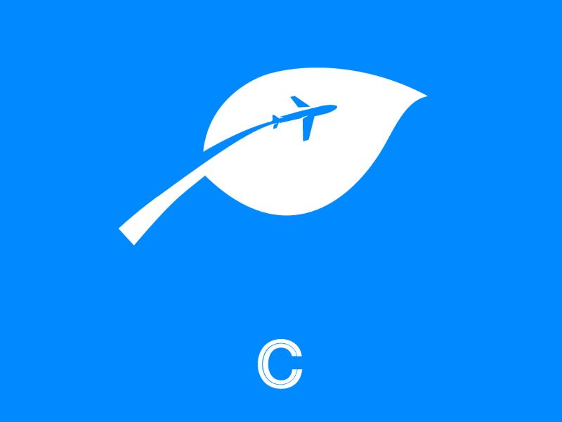 Green Flying cooperbility brand green jet eco-friendly leaf logo flight