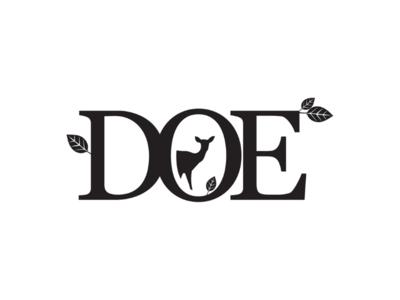 Doe a dear ... A female dear. cooperbility brand logo woodland wild natural nature leaf typography type dear doe