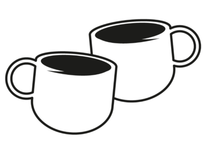Coffee conversation cooperbility brand simple logo meeting cuppa cups talking conversation chat coffee