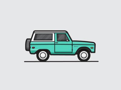 Ford Bronco flat illustration old bronco ford