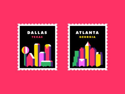 City Stamps mail snail abstract stamps georgia atlanta texas dallas