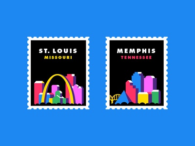 City Stamps mississippi river isometric st. louis memphis bridge arch postage city stamps