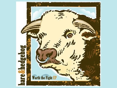 Cover Artwork hare and hedgehog artwork cover record blue bull vector vintage worth the fight brown indie rock alternative music band